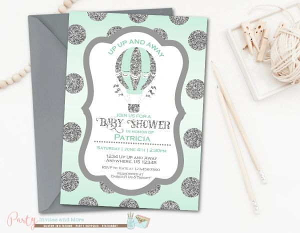 Hot Air Balloon Baby Shower Invitation Glitter Baby Shower Party