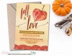 Fall Bridal Shower Invitation, Fall In Love