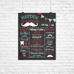 First Birthday Chalkboard Poster, First Birthday Milestone Chalkboard, Printable Chalkboard Poster, Little Man Chalkboard Poster, Mustache