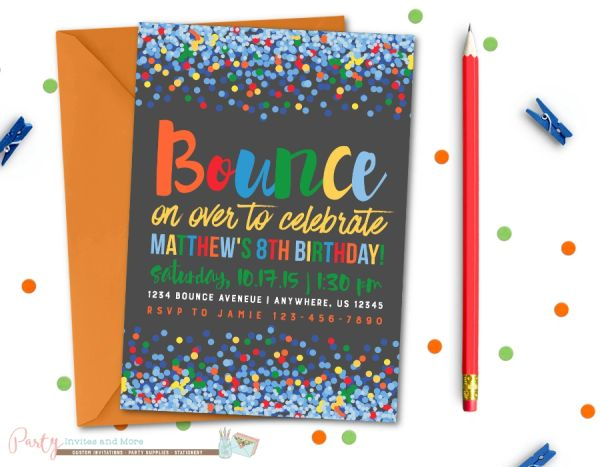 Jump Birthday Invitation Bounce