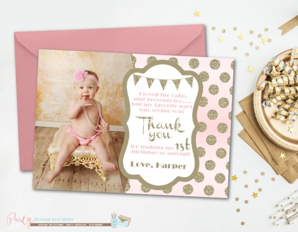 blush pink and gold thank you card birthday thank you card glitter thank you card first birthday thank you cardglam photo thank you - First Birthday Thank You Cards