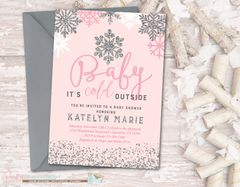 Snowflake Baby Shower Invitation, Winter Baby Shower Invitation, Baby It's Cold Outside Shower Invitation, Winter, Snowflake, Silver and Pink