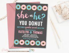 Donut Gender Reveal Invitation, Gender Reveal Invitation, Donut Shower, Pink and Blue Donut Invitation, Doughnut Invitation
