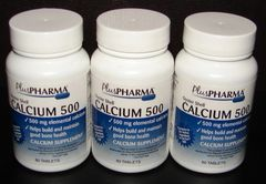 Calcium 500mg by PlusPharma (Compare to Os-Cal 500) 60ct -3 Pack