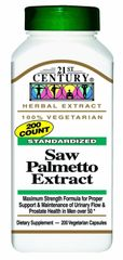 21st Century Standardized Saw Palmetto Extract Capsules 200 ct