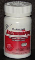 Acetaminophen 325mg by PlusPharma 100ct Tablets (Comapre to Tylenol Regular Strength)