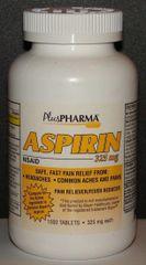 Aspirin 325mg by PlusPharma (Compare to Genuine Bayer Aspirin 325mg) 1000ct