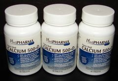 Calcium 500mg with Vitamin D 200IU by PlusPharma 60ct (Compare to Os-Cal 500 + D) -3 Pack