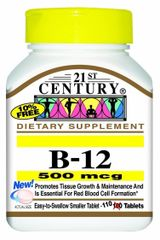 21st Century Vitamin B-12 500mcg Tablets 110ct