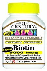 21st Century Biotin 5000mcg Capsules 110ct
