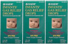 Infants Gas Relief Drops 30mL by Major (Compare to Mylicon Drops) -3 Pack