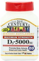 21st Century Vitamin D3 5000IU Tablets 110ct
