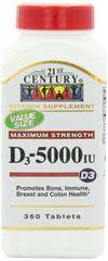 21st Century Vitamin D3 5000IU Tablets 360ct