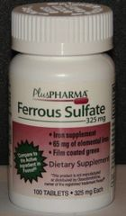 Ferrous Sulfate 325mg Green Tablets by PlusPharma (Compare to Feosol) 100ct