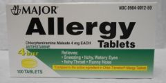 Chlorpheniramine Maleate 4mg Allergy Tablets by Major (Chlor-Trimeton) 100ct