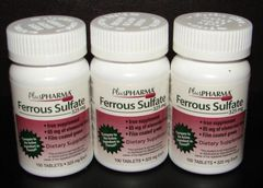 Ferrous Sulfate 325mg Green Tablets by PlusPharma (Compare to Feosol) 100ct -3 Pack