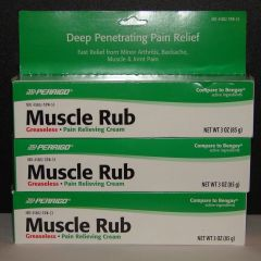 Muscle Rub Cream by Perrigo (Compare to Bengay) 3oz Tube - 3 Pack