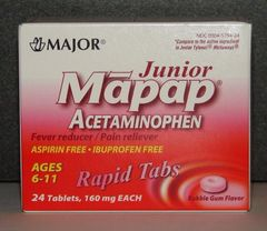 Junior Mapap Acetaminophen 160mg Rapid Tabs (Compare to Junior Tylenol Meltaways) 24ct