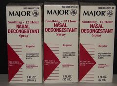 Nasal Decongestant Spray 12 Hour Oxymetazoline HCL 0.05% 30ml Bottle- 3 Pack