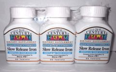 21st Century Slow Release Iron Tablets, 60 Count (Pack of 3)