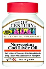 21st Century Norwegian Cod Liver Oil Softgels 110ct