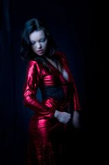 Red PVC Cape Robe with Black Lace