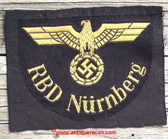 WW II GERMANY RDB NURNBERG STATE RAILWAY ARM PATCH