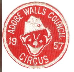 BOY SCOUT ADOBE WALLS COUNCIL CIRCUS 1957 PATCH