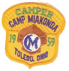 BOY SCOUT CAMP MIAKONDA CAMPER 1959 PATCH