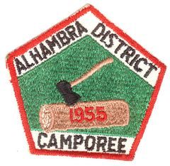 BOY SCOUTS ALHAMBRA DISTRICT CAMPOREE 1955 PATCH