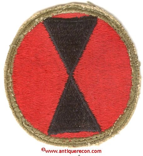WW II US ARMY 7th INFANTRY DIVISION PATCH - used 8467b1757c8
