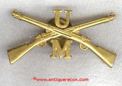 US ARMY U M INFANTRY OFFICER CAP INSIGNIA - 1920's