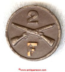 WW I US ARMY 2nd INFANTRY COMPANY F COLLAR DISK
