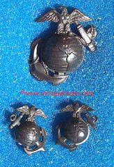 WW II US MARINE CORPS BAM PLASTIC CAP BADGE & COLLAR INSIGNIA