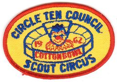BOY SCOUT CIRCLE TEN COUNCIL 1962 SCOUT CIRCUS PATCH - COTTON BOWL