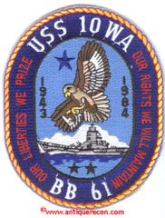 USS IOWA BB-61 COMMEMORATIVE PATCH