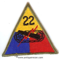 US ARMY 22nd ARMORED DIVISION PATCH