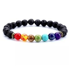 7 Chakra Diffuser Bracelet with Lava Beads