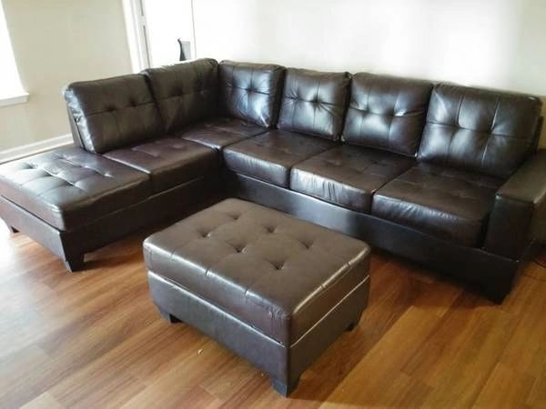 2300 Brown Leather Sectional Amp Storage Ottoman Discount