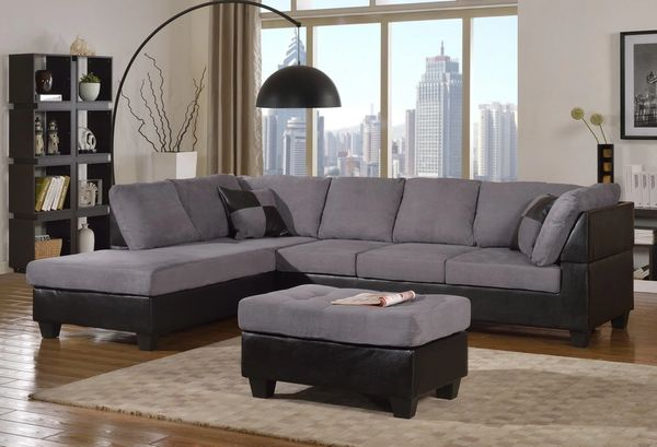 Gray Microfiber Sectional With Black Leather Base