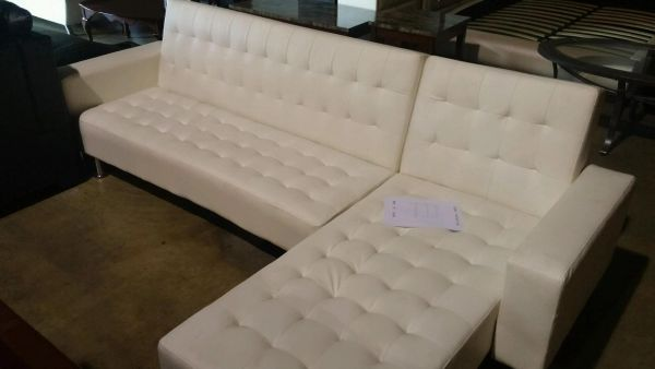 Cheap White Leather Sectional $399