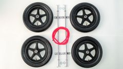 "4 x 12"" five spoke wheels & axles includes red steering rope"