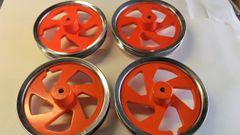 4 x orange birch ply wheel rims
