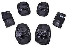 Protective Knee, Elbow and Wrist Pads Black set of six