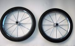 """2 x 11"""" zinc plated wire spoked wheels"""