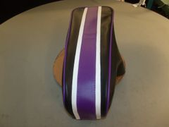 Coleman CT200U Mini Bike Seat Upholstery White/ Purple Stripe
