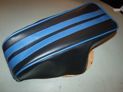 Coleman CT200U Mini Bike Seat Upholstery Black With Royal Blue Stripes