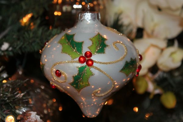 Holly Berry Glass Christmas Ornament From Melrose