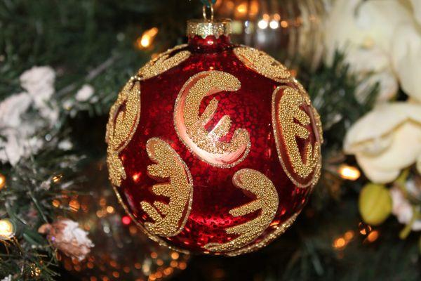 glittered red glass ball christmas ornament