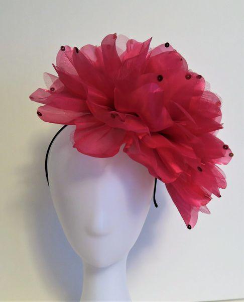 Hot Pink Flower Fascinator Fancy Derby Hats